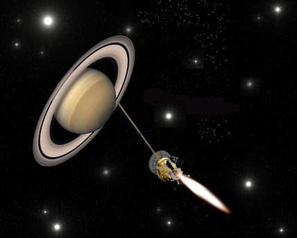 Allumage du moteur de Cassini (crédit : NASA/JPL)